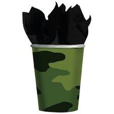 8 Vasos de papel-cartón camuflaje.