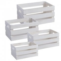 Set 4 Cajas-cestas de madera blancas.