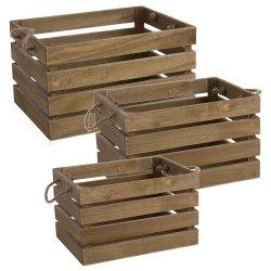 Set 3 Cajas-cesta de madera natural