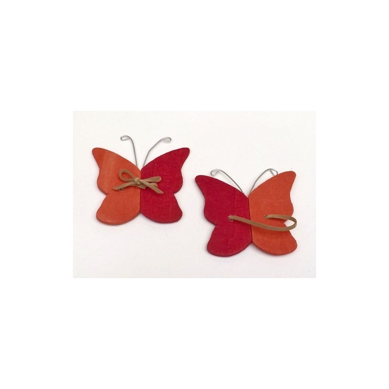 16 Mariposas de madera naranja-rojo
