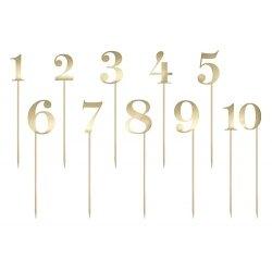 Topper-Números del O al 9, Papel dorado brillo