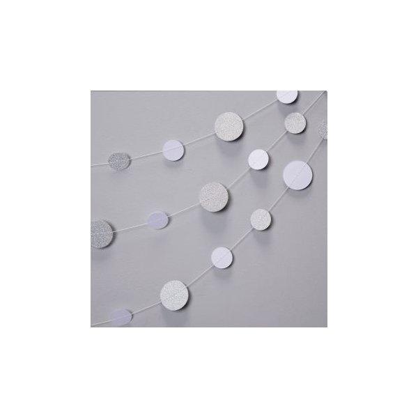 Guirnalda círculos plata glitter y blanco
