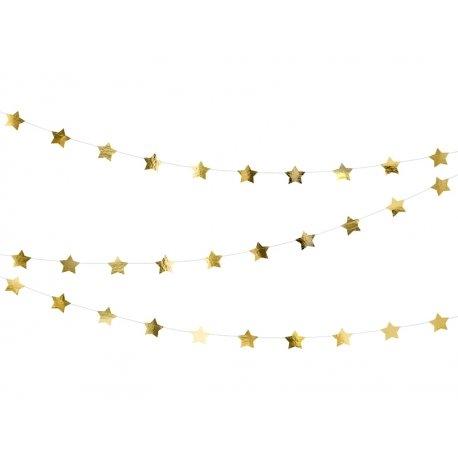 Guirnalda con estrellas doradas metalizadas
