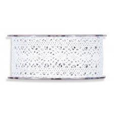 Cinta de regalo encaje-puntilla, blanco 40 mm x 10 m