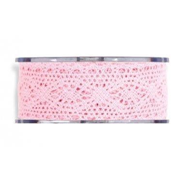 Cinta de regalo encaje-puntilla, rosa. 40 mm x 8 m