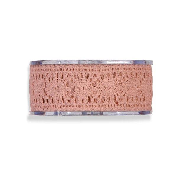 Cinta de regalo encaje-puntilla, rosa palo. 40 mm x 8 m