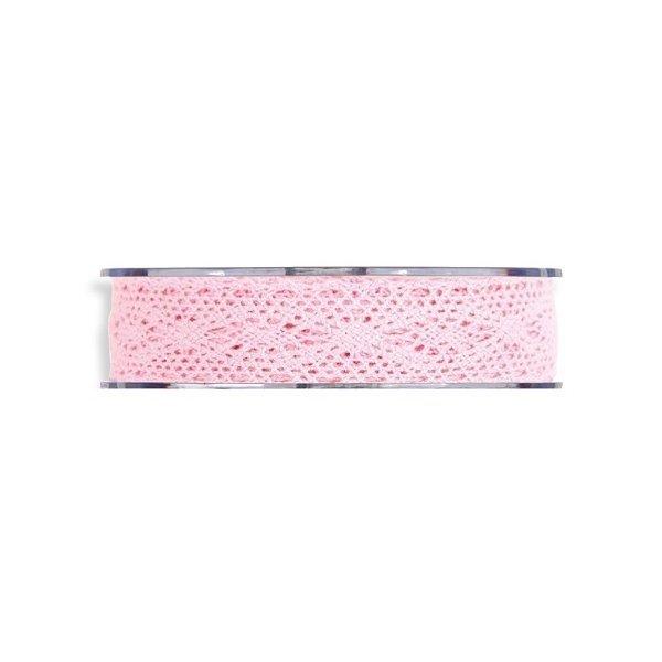 Cinta de regalo encaje-puntilla, rosa. 25 mm x 8 m