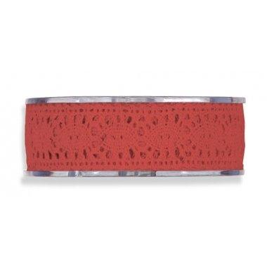 Cinta de regalo encaje-puntilla, rojo. 25 mm x 8 m