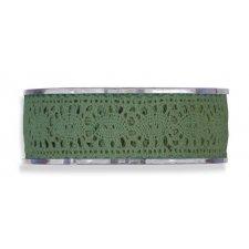 Cinta de regalo encaje-puntilla, verde inglés. 25 mm x 8 m