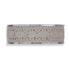 Cinta de regalo encaje-puntilla, gris. 25 mm x 8 m