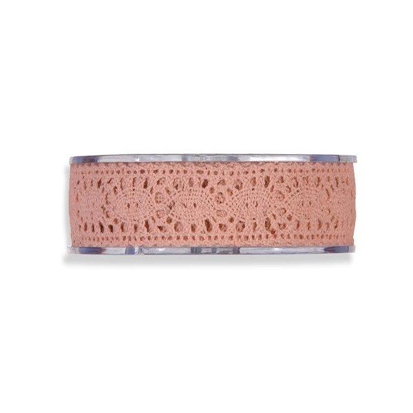 Cinta de regalo encaje-puntilla, rosa palo. 25 mm x 8 m