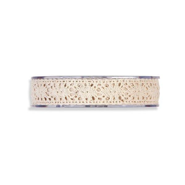 Cinta de regalo encaje-puntilla, marfil. 10 mm x 10 m