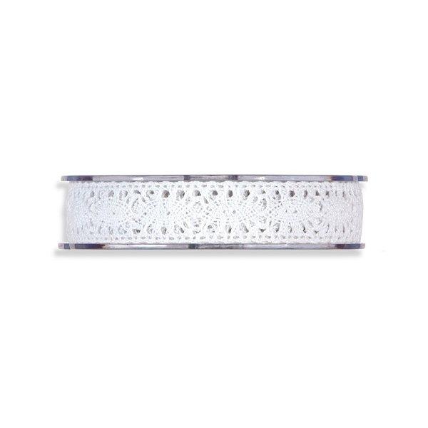 Cinta de regalo encaje-puntilla, blanco. 10 mm x 10 m