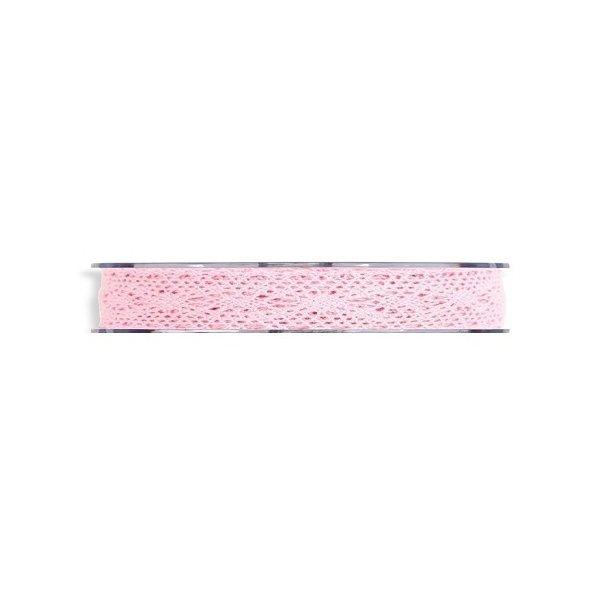 Cinta de regalo encaje-puntilla, rosa. 10 mm x 10 m
