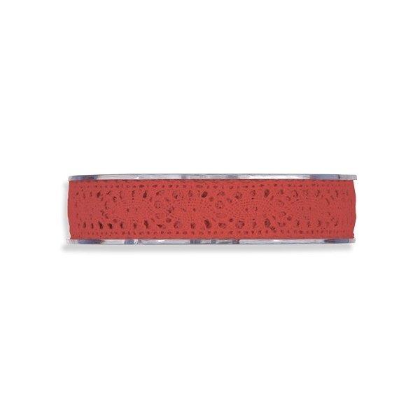 Cinta de regalo encaje-puntilla, rojo. 10 mm x 10 m
