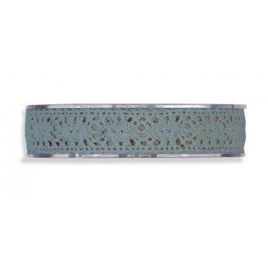Cinta de regalo encaje-puntilla azul plomo. 10 mm x 10 m