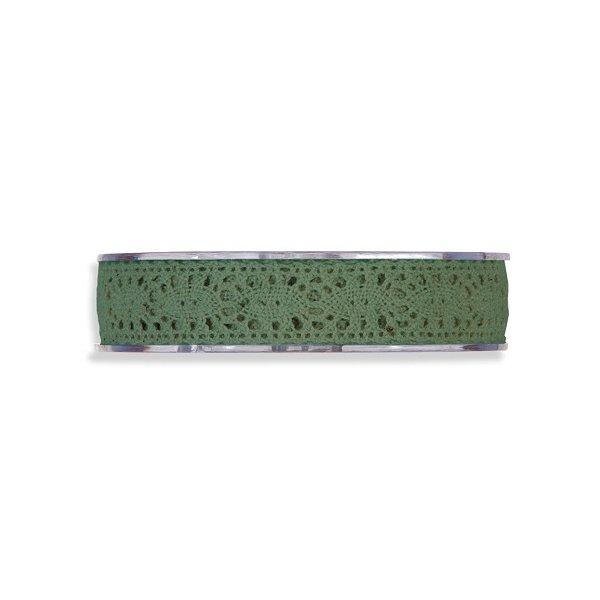 Cinta de regalo encaje-puntilla verde inglés. 10 mm x 10 m