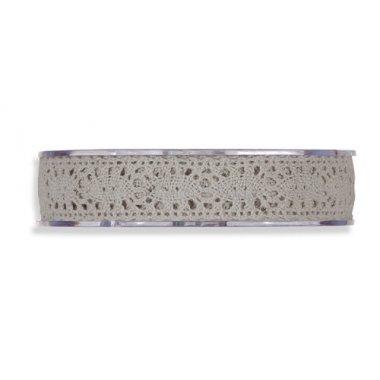 Cinta de regalo encaje-puntilla gris. 10 mm x 10 m