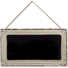 Pizarra con marco de metal blanco 46x26 cms
