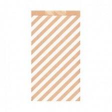 25 Sobres/bolsas de papel kraft, rayas blancas 19x8x35