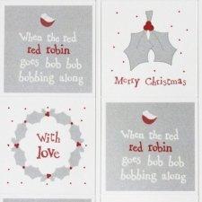 35 Etiquetas adhesivas navideñas grises