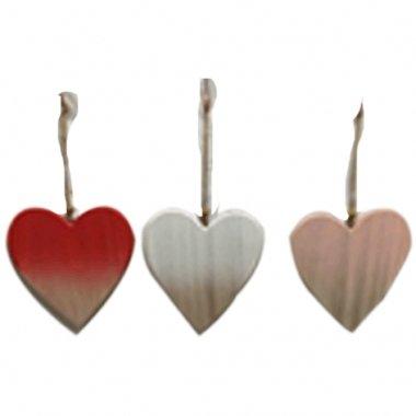3 Colgantes corazón de madera. Color surtido