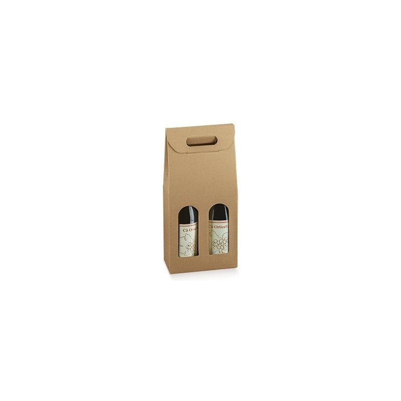 3 cajas para 2 botellas, kraf natural.