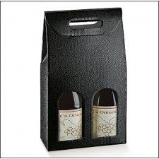 3 cajas para 2 botellas, simil tela color negro .180x90x385mm