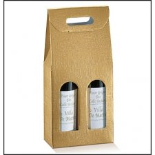 3 cajas para 2 botellas, color oro .180x90x385mm