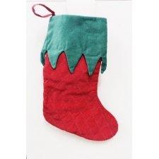 Calcetines-botas de Navidad, terciopelo rojo y verde