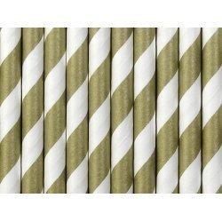 10 Pajitas de papel rayas doradas.