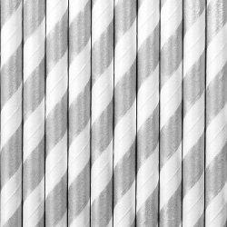 10 Pajitas de papel rayas plateadas