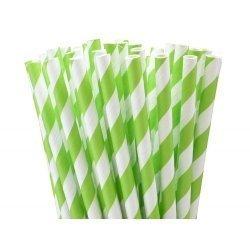 24 Pajitas de papel rayas pistacho.