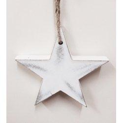 Estrella blanca de madera. 17.5 cms