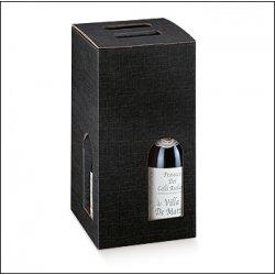 2 Cajas para 4 botellas, color negro.