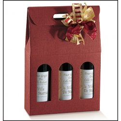 3 Cajas para 3 botellas, cartón ondulado granate