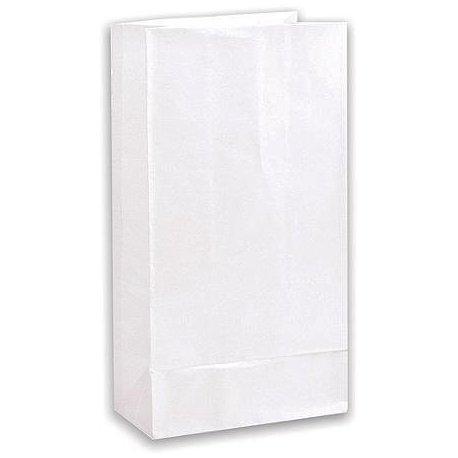 50 Bolsas de papel blanco tipo americano,10x6x27cms