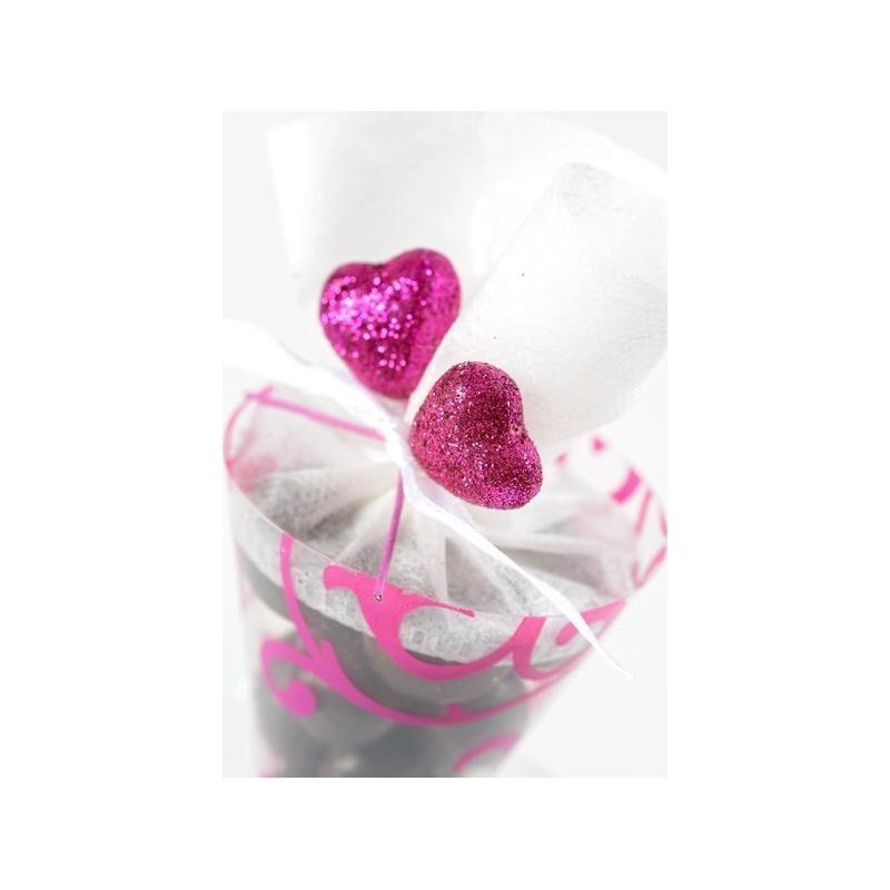 12 pick corazón glitter. Varios colores