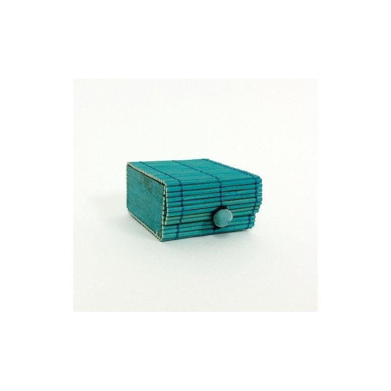 6 Cajas de madera-bamboo, azul