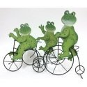 Set de 3 ranas de madera con bicicleta