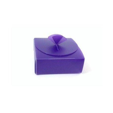 10 Cajas de plástico rígido morado 8x8x3 cms