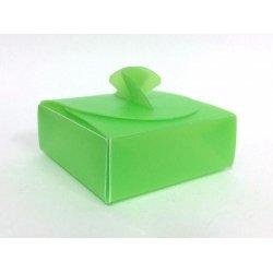 10 Cajas de plástico rígido verde 8x8x3 cms