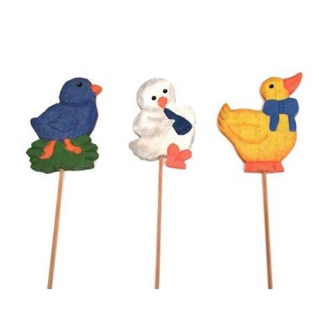 3 Picks de madera, pollito, gallina, pato. Modelos surtidos