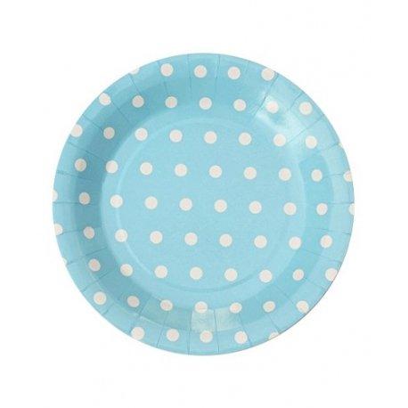 12 Platos de cartón-papel, azul claro con lunares blancos