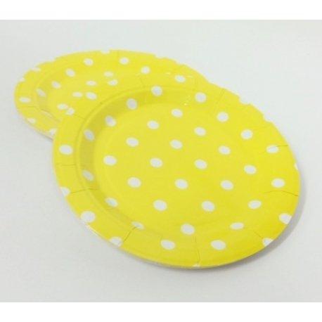 12 Platos de cartón-papel, amarillos con lunares blancos