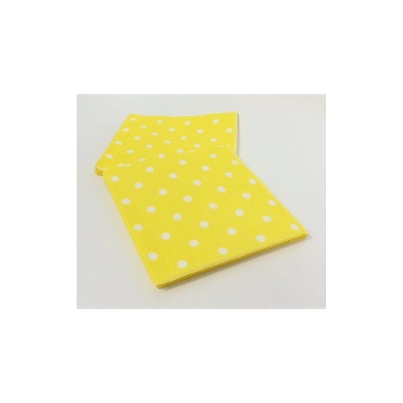 20 Servilletas de papel, amarillas con lunares blancos