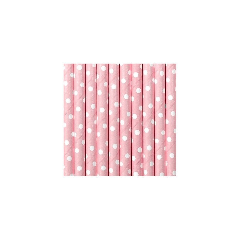10 Pajitas de papel mini lunares rosa