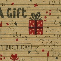 Bobina de papel de regalo,con dibujos y letras happy birthday