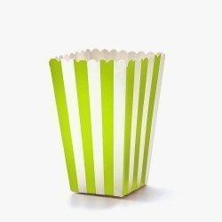 12 Cajas para palomitas. Rayas verde pistacho