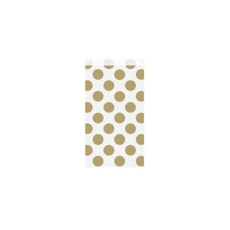 25 Sobres/bolsas de papel blanco con lunares dorados 12x5x18 cms